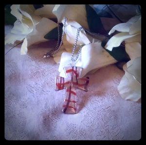 Vintage Glass Cross Pendant